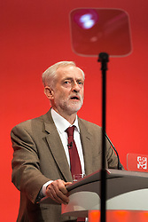 © Licensed to London News Pictures . 29/09/2015 . Brighton , UK . JEREMY CORBYN uses an autocue as he delivers his speech to the 2015 Labour Party Conference . Photo credit : Joel Goodman/LNP