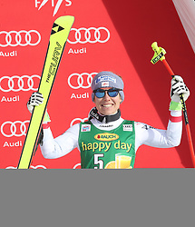 03.12.2017, Lake Louise, CAN, FIS Weltcup Ski Alpin, Lake Louise, Super G, Damen, Siegerehrung, im Bild Nicole Schmidhofer (AUT) // Nicole Schmidhofer of Austria during the winner ceremony of ladie's Super G of FIS Ski Alpine World Cup in Lake Louise, Canada on 2017/12/03. EXPA Pictures © 2017, PhotoCredit: EXPA/ SM<br /> <br /> *****ATTENTION - OUT of GER*****