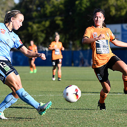 BRISBANE, AUSTRALIA - OCTOBER 30: Georgia Yeoman-Dale of Sydney passes the ball during the round 1 Westfield W-League match between the Brisbane Roar and Sydney FC at Spencer Park on November 5, 2016 in Brisbane, Australia. (Photo by Patrick Kearney/Brisbane Roar)