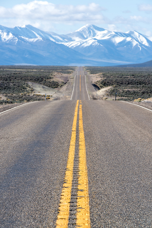 Desert highway below the Toiyabe Range, Nevada.