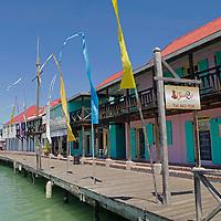 Americas, Caribbean, Antigua and Barbuda. Boardwalk waterfront of the cruise port at St. John's, Antigua.