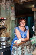 Author of the book Korma, Kheer and Kismet, Pamela Timms at the Jain Coffee House, Old Delhi, India