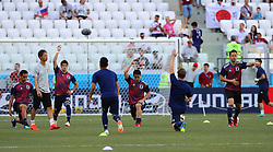 VOLGOGRAD, June 28, 2018  Players of Japan warm up prior to the 2018 FIFA World Cup Group H match between Japan and Poland in Volgograd, Russia, June 28, 2018. (Credit Image: © Yang Lei/Xinhua via ZUMA Wire)