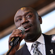 Family Attorney Benjamin Crump speaks during a rally for the shooting of Trayvon Martin on Thursday, March 22, 2012 at Fort Mellon Park in Sanford, Florida. (AP Photo/Alex Menendez) Trayvon Martin rally in Sanford, Florida.