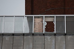 © Licensed to London News Pictures . 14/09/2015. Manchester, UK. Smashed skylights , broken by Stuart Horner at HMP Manchester (formerly Strangeways Prison ) , where Horner is conducting a rooftop protest against prison conditions . Photo credit : Joel Goodman/LNP