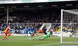 Ivan Toney of Peterborough United scores past Mark Oxley of Southend United but his goal is ruled out for offside - Mandatory by-line: Joe Dent/JMP - 23/03/2019 - FOOTBALL - ABAX Stadium - Peterborough, England - Peterborough United v Southend United - Sky Bet League One