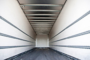 Inside empty container on the back of a HGV vehicle, UK