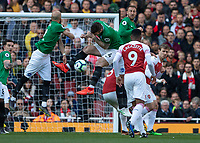 Football - 2018 / 2019 Premier League - Arsenal vs. Brighton & Hove Albion<br /> <br /> Determined defending from the Brighton defence as Arsenal apply the pressure looking for the winning goal <br /> at The Emirates.<br /> <br /> COLORSPORT/DANIEL BEARHAM