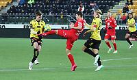 Fotball , 9. desember 2020 , Eliteserien , Srart - Brann <br /> Erlend Segberg , Start<br /> Eirik Wichne , Start<br /> Mathias Rasmussen , Brann