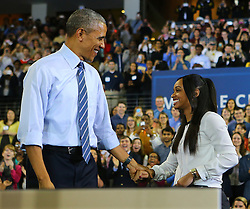 Georgia Tech student Tiffany Davis introduces President Barack Obama to discuss college affordability and access to quality higher education at Georgia Tech on Tuesday, March 10, 2015, in Atlanta, GA, USA. Photo by Curtis Compton/Atlanta Journal-Constitution/TNS/ABACAPRESS.COM  | 491121_004 Atlanta Etats-Unis United States