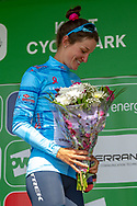 Lizzie Deignan (GBR) riding for Trek-Segafredo on the podium after Stage 2 wearing her best british rider jersey during the OVO Energy Women's Tour 2019 at Cyclopark, Gravesend, United Kingdom on 11 June 2019.