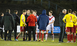 Albion Rover's players at Ref Gavin Duncan at the end. Albion Rover 1 v 2 Airdrie, Scottish League 1 game played 5/11/2016 at Cliftonhill.