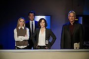 """""""Dead Letter"""" – The NCIS team, alongside the FBI and MI6, continue an international manhunt for an escaped British spy who has left one colleague fighting for their life in ICU, on NCIS, Tuesday, May 10 (8:00-9:00 PM, ET/PT), on the CBS Television Network. Sarah Clarke guest stars as FBI Special Agent Tess Monroe and Duane Henry guest stars as MI6 Officer Clayton Reeves. Pictured: Emily Wickersham as Eleanor Bishop, Michael Weatherly as Tony DiNozzo, Sarah Clarke as Tess Monroe, Mark Harmon as Jethro Gibbs.   Photo: Jace Downs/CBS ©2016 CBS Broadcasting, Inc. All Rights Reserved"""