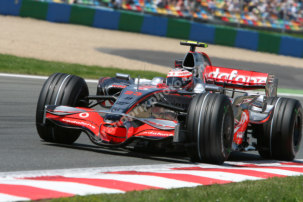 Heikki Kovalainen (McLaren-Mercedes) during qualifying for the 2008 French Grand Prix in Magny-Cours. Photo: Grand Prix Photo