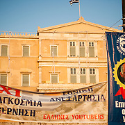 Hanging nooses  for greek MP's in front of the Greek parliament