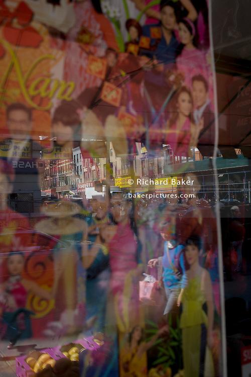 Vietnamese magazine covers and modern Chinatown in Manhattan, New York City.