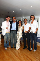 Left to right, DUNCAN STIRLING, MILAN LEBLOCH, GEETA DUTT, SABIR MANJI and CHARLIE GILKES at the launch of Friday Nights at Mamilanji - Chelsea's newest and most exclusive members club, 107 Kings Road, London SW3 hosted by Charlie Gilkes and Duncan Stirling held on 29th July 2005.<br />