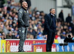 Wigan's manager Paul Cook and Blackburn Rovers Manager Tony Mowbray on the side line
