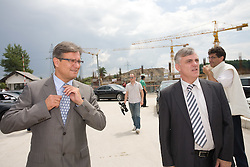 Zdenko Pavcek and Mirko Bandelj at open door day 1 year before opening of new football stadium and sports hall in Stozice,  on June 30, 2009, at Stadium Stozice, Ljubljana, Slovenia. (Photo by Vid Ponikvar / Sportida)