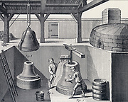 Bell foundry: Preparing mould for castingbell in the bell pit.  From Diderot 'Encyclopedie' c1751.