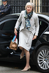 Downing Street, London, October 27th 2015.  Home Secretary Theresa May arrives at 10 Downing Street to attend the weekly cabinet meeting. /// Licencing: Paul Davey tel: 07966016296 or 02089696875 paul@pauldaveycreative.co.uk www.pauldaveycreative.co.uk
