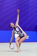 Halkina Kastiaryna during final at ball in World Cup Pesaro, Adriatic Arena on April 15,2018. Katsiaryna is a Belarusian rhythmic gymnastics athlete born February 25,1997 in Minks, Belarus.