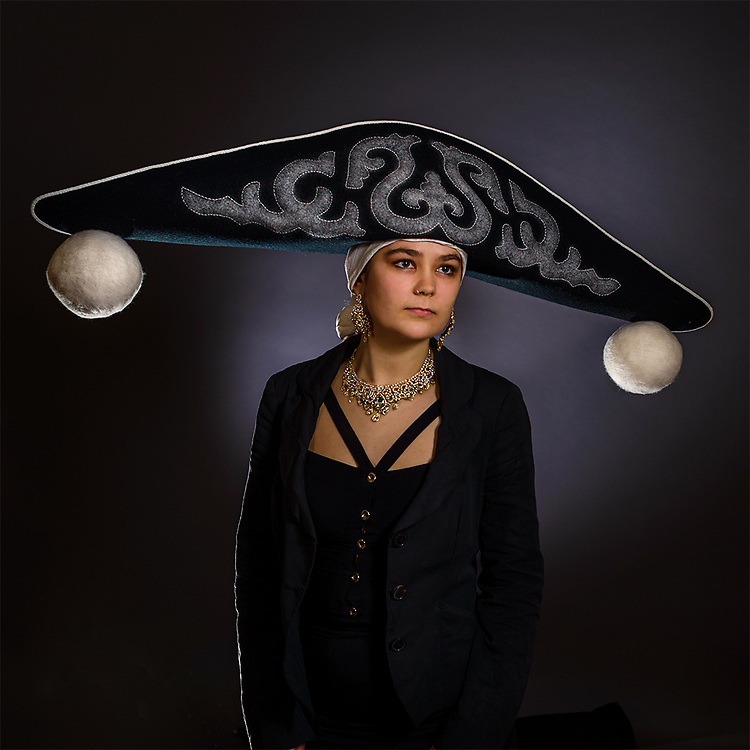 Bicorn Felt Hat, hand made by Rachel Frost. Entered into the 2019 HATalk Hat Making Competition<br /> Equilibrium: a state in which opposing forces or influences are balanced