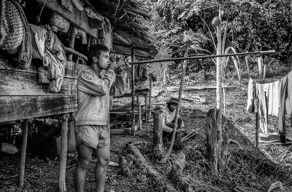 Murut male showing how to use the traditional blowpipe for hunting. Malaysia, Sabah, Borneo 1992
