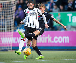 Falkirk's Cieran Dunne brings down Dunfermline's Nicky Clark  for their penalty. half time : Falkirk 0 v 1 Dunfermline, Scottish Championship game played 4/5/2017 at The Falkirk Stadium.