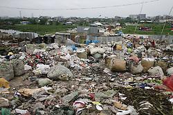 August 18, 2017 - Dhaka, Bangladesh - Wastage plastic material puts on bags in Dhaka, Bangladesh, August 18, 2017. (Credit Image: © Suvra Kanti Das via ZUMA Wire)