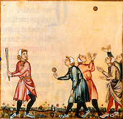 SPAIN, MIDDLE AGES, EL ESCORIAL 13thC Cantigas illuminated poems created for Alfonso X of Castile shows medieval baseball game