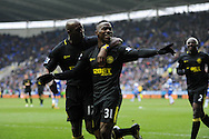 Wigan's Maynor Figueroa (31) celebrates with teammate Emmerson Boyce (l) after he scores his sides 3rd goal. Barclays Premier league, Reading v Wigan Athletic at the Madejski Stadium in Reading on Saturday 23rd Feb 2013. pic by Andrew Orchard, Andrew Orchard sports photography,
