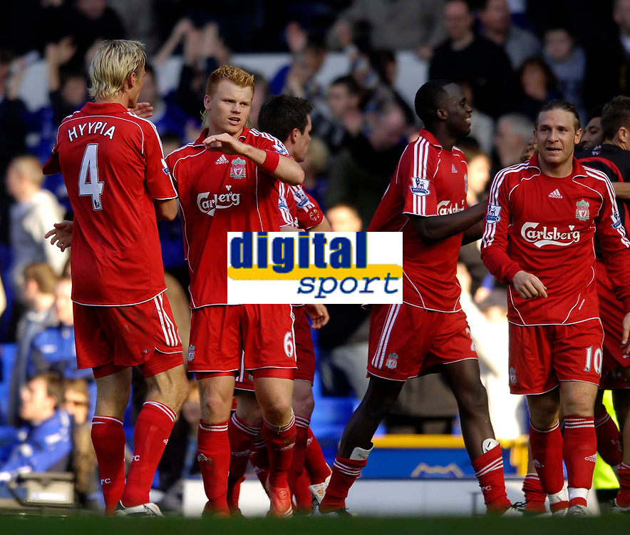 Photo: Jed Wee/Sportsbeat Images.<br /> Everton v Liverpool. The FA Barclays Premiership. 20/10/2007.<br /> <br /> Liverpool's John Arne Riise (6) celebrates with Sami Hyypia (L) at the final whistle.