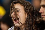 A fan screming for draw attention of Real Madrid players