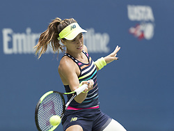 August 31, 2017 - New York, New York, United States - Nicole Gibbs of USA returns ball during match against Karolina Pliskova of Czech Republic at US Open Championships at Billie Jean King National Tennis Center  (Credit Image: © Lev Radin/Pacific Press via ZUMA Wire)