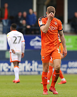 Luton Town's James Collins shows his dejection after being shown a red card<br /> <br /> Photographer David Shipman/CameraSport<br /> <br /> The EFL Sky Bet League One - Luton Town v Blackpool - Saturday 6th April 2019 - Kenilworth Road - Luton<br /> <br /> World Copyright © 2019 CameraSport. All rights reserved. 43 Linden Ave. Countesthorpe. Leicester. England. LE8 5PG - Tel: +44 (0) 116 277 4147 - admin@camerasport.com - www.camerasport.com