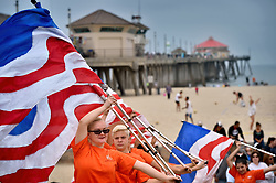 May 29, 2017 - Huntington Beach, CA, USA - With the Huntington Beach Pier behind them, the Huntington Beach High School Color Guard performs to the music at the start of the annual Memorial Day Ceremony at the the Huntington Beach Pier Plaza..Steven Georges, Contributing Photographer (Credit Image: © Steven Georges/The Orange County Register via ZUMA Wire)