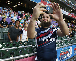 April 8, 2018 - Hong Kong, HONG KONG - Dannt Barrett (3) of the United States shown with fans during the 2018 Hong Kong Rugby Sevens at Hong Kong Stadium in Hong Kong. (Credit Image: © David McIntyre via ZUMA Wire)