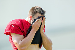July 28, 2018 - Metairie, LA, U.S. - METAIRIE, LA. - JULY 28:  New Orleans Saints quarterback Taysom Hill (7) wipes aways the sweat during New Orleans Saints training camp practice on July 28, 2018 at the Ochsner Sports Performance Center in New Orleans, LA.  (Photo by Stephen Lew/Icon Sportswire) (Credit Image: © Stephen Lew/Icon SMI via ZUMA Press)