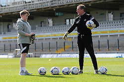 Stuart Naylor invites a fan to train with them during the Bristol Rovers open training session - Photo mandatory by-line: Dougie Allward/JMP - Mobile: 07966 386802 - 31/03/2015 - SPORT - Football - Bristol - Memorial Stadium - Vanarama Football Conference - Bristol Rovers Open Training Session