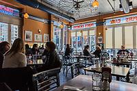 NEW YORK CITY- MARCH 26, 2018 : Soho streets restaurant interior  one of the main Manhattan Landmarks