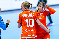 Danick Snelder of Netherlands, Angela Malestein of Netherlands in action during the Women's EHF Euro 2020 match between Netherlands and Germany at Sydbank Arena on december 14, 2020 in Kolding, Denmark (Photo by RHF Agency/Ronald Hoogendoorn)