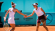 Jil Teichmann and Belinda Bencic of Switzerland in action during the doubles semi-final of the Mutua Madrid Open 2021, Masters 1000 tennis tournament on May 6, 2021 at La Caja Magica in Madrid, Spain - Photo Oscar J Barroso / Spain ProSportsImages / DPPI / ProSportsImages / DPPI