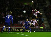 Photo: Andrew Unwin.<br /> Sunderland v Cardiff City. Coca Cola Championship. 31/10/2006.<br /> Sunderland's Chris Brown (R) equalises for his team.
