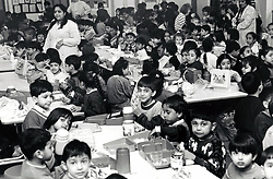 Dinnertime, primary school, Nottingham UK 1991
