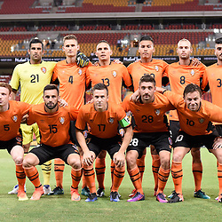 BRISBANE, AUSTRALIA - JANUARY 31: Brisbane Roar players line up before the second qualifying round of the Asian Champions League match between the Brisbane Roar and Global FC at Suncorp Stadium on January 31, 2017 in Brisbane, Australia. (Photo by Patrick Kearney/Brisbane Roar)