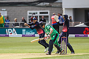 Joe Root of England catches Kevin O'Brien of Ireland' fine edge, bowled by Adil Rashid of England during the One Day International match between England and Ireland at the Brightside County Ground, Bristol, United Kingdom on 5 May 2017. Photo by Andrew Lewis.