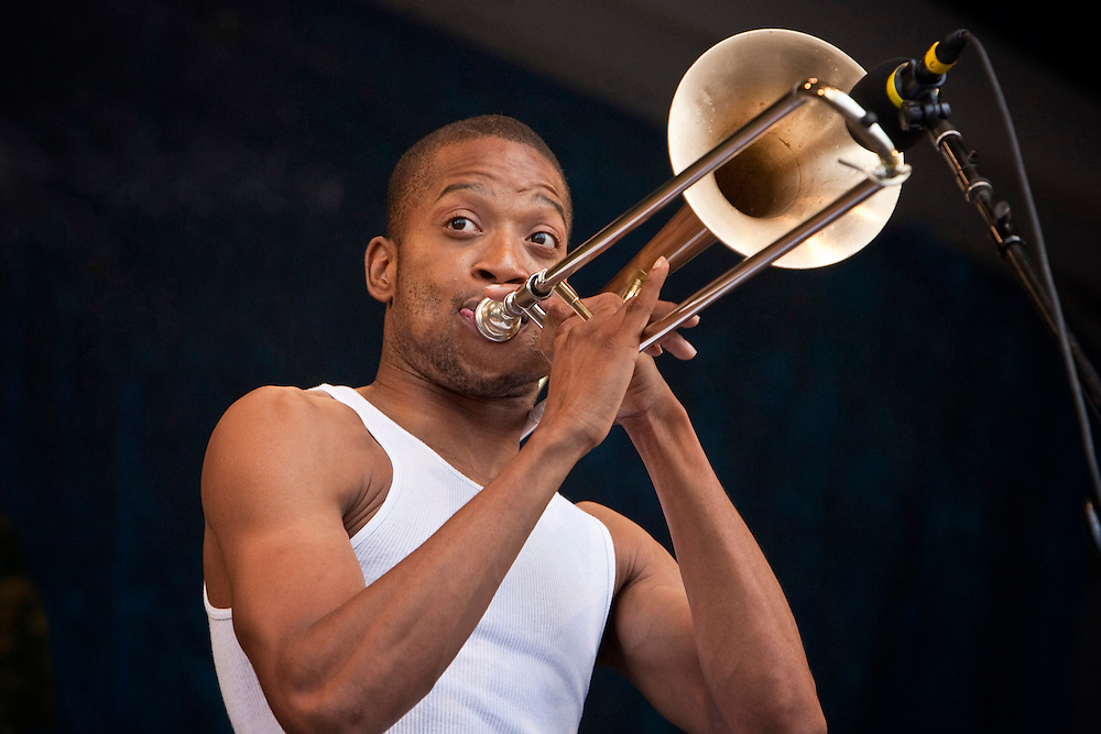 """Troy """"Trombone Shorty"""" Andrews performs on the Gentilly Stage on Day 7 at the New Orleans Jazz and Heritage Festival at the New Orleans Fair Grounds Race Course in New Orleans, Louisiana, USA, 2 May 2010."""