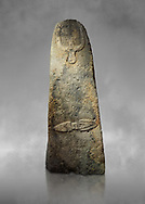 Late European Neolithic prehistoric Menhir standing stone with carvings on its face side. The representation of a stylalised male figure starts at the top with a long nose from which 2 eyebrows arch around the top of the stone. below this is a carving of a falling figure with head at the bottom and 2 curved arms encircling a body above. at the bottom is a carving of a dagger running horizontally across the menhir.  Excavated from Piscina 'E Sali V site,  Laconi. Menhir Museum, Museo della Statuaria Prehistorica in Sardegna, Museum of Prehoistoric Sardinian Statues, Palazzo Aymerich, Laconi, Sardinia, Italy .<br /> <br /> Visit our PREHISTORIC PLACES PHOTO COLLECTIONS for more photos to download or buy as prints https://funkystock.photoshelter.com/gallery-collection/Prehistoric-Neolithic-Sites-Art-Artefacts-Pictures-Photos/C0000tfxw63zrUT4