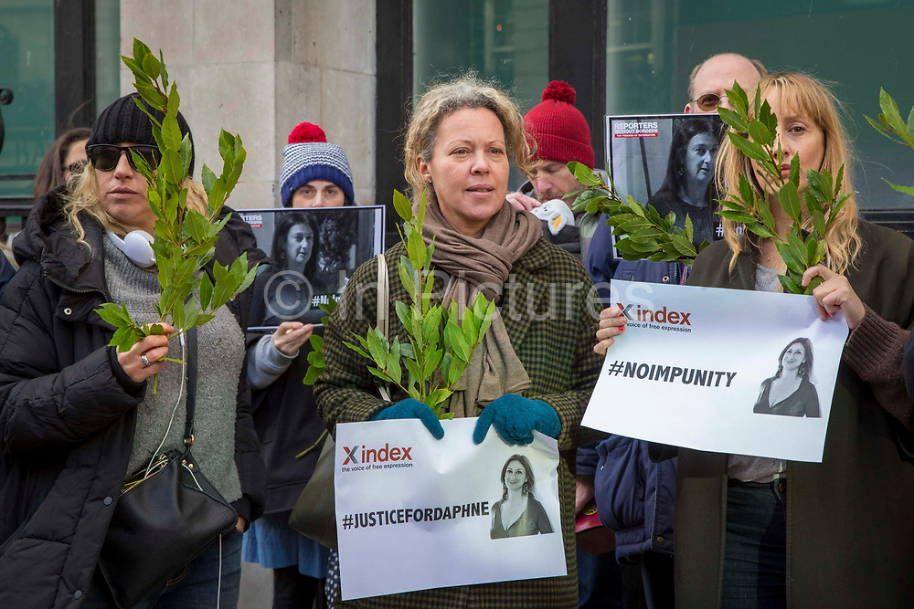 Dozens of free expression advocates, anti-corruption activists and other supporters gathered outside Malta House on Piccadilly, the High Commission of Malta in London to demand justice, 3 months since the murder of the Maltese investigative journalist Daphne Caruna Galiza. London, 16 January 2018